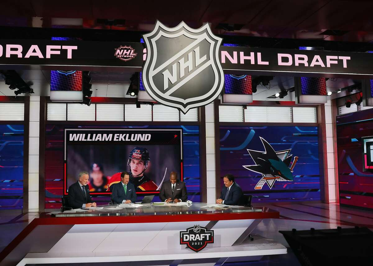 With the seventh pick in the 2021 NHL Entry Draft, the San Jose Sharks select William Eklund during the first round of the 2021 NHL Entry Draft at the NHL Network studios on July 23, 2021 in Secaucus, New Jersey. (Photo by Bruce Bennett/Getty Images)