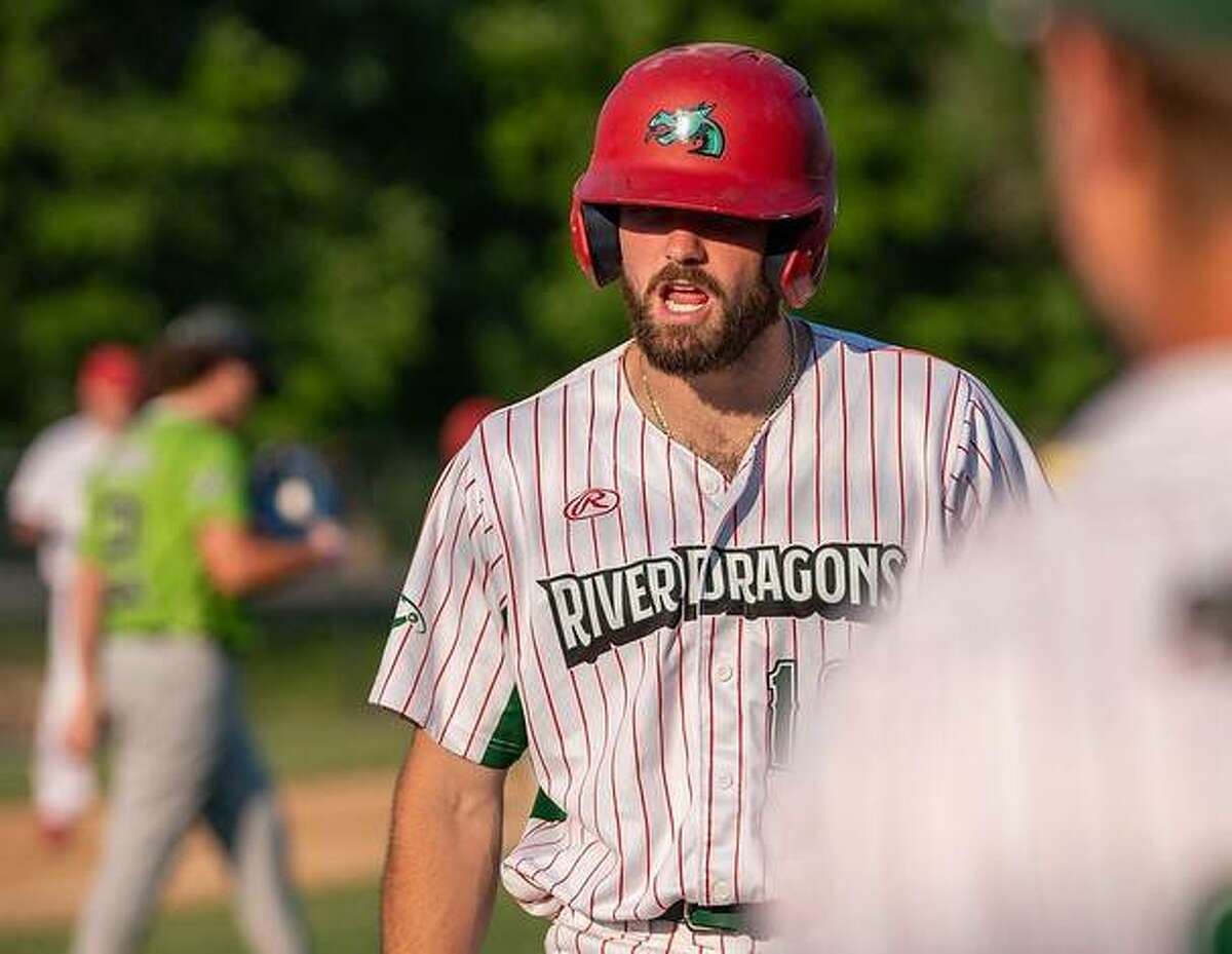 Josh Johnson of the Alton River Dragons had a pair of hits in Friday night's 4-3 loss to the O'Fallon Hoots at Lloyd Hopkins Field in Gordon Moore Park. He is shown after reaching base in a game earlier this season.