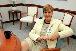 Greenwich Hospital President Diane Kelly poses at the hospital in Greenwich, Conn., on Wednesday July 21, 2021. The hospital has expansion plans for the cancer care unit.