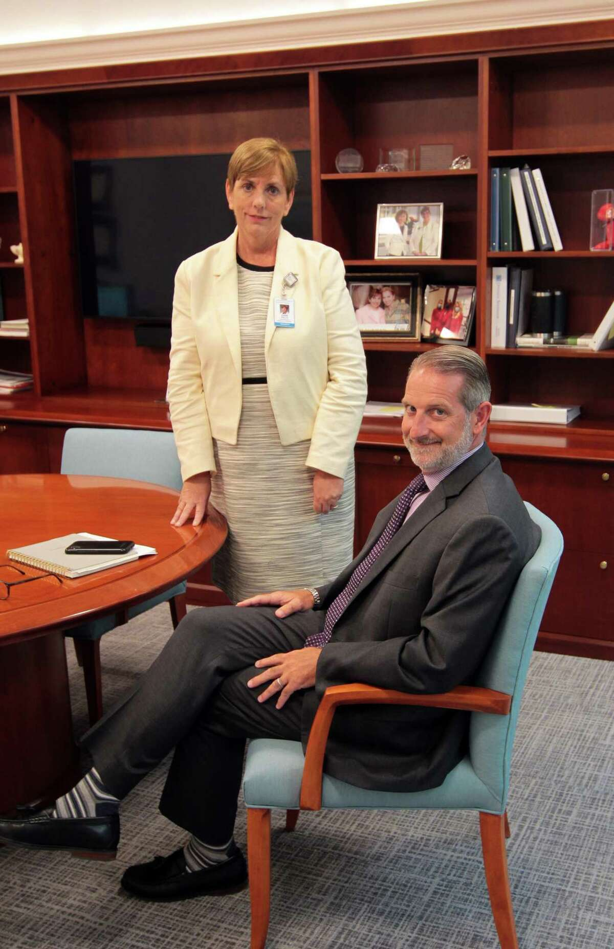 Greenwich Hospital President Diane Kelly and COO Marc Kosak pose at the hospital in Greenwich, Conn., on Wednesday July 21, 2021. The hospital has expansion plans for the cancer care unit.