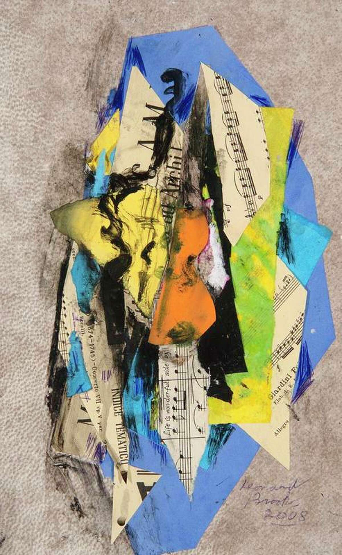 """""""Untitled,"""" a collage by Canadian artist Leonard Brooks, is one of a group of artworks, some with music themes, presented to the museum by cellist Gilberto Munguia. Both Brooks and Munguia were part of the artists' colony in San Miguel de Allende, Mexico."""