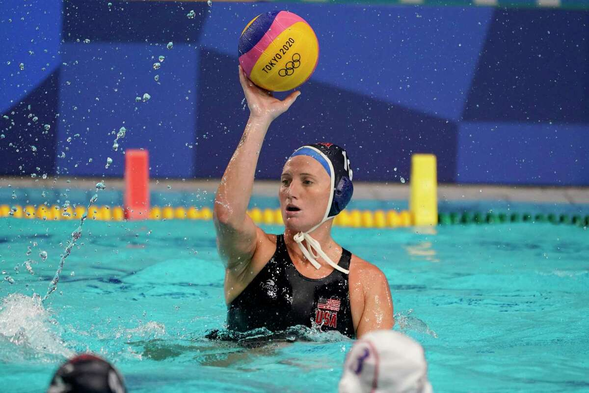 United States' Kaleigh Gilchrist plays against Japan during a preliminary round women's water polo match at the 2020 Summer Olympics, Saturday, July 24, 2021, in Tokyo, Japan. (AP Photo/Mark Humphrey)