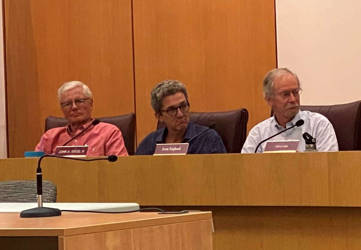 Republican Councilmen Rich Townsend, John Engel and Sven Englund will not be running for Town Council in November. Here they are at a Town Council meeting on Wednesday, July 21, 2021 in New Canaan Town Hall.