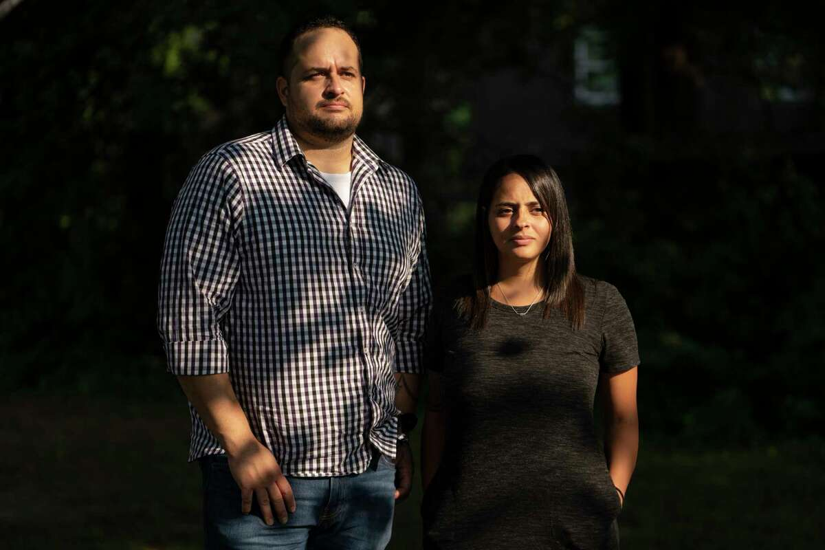 Kyle Willis and his sister Corrie Mckenzie in Broken Arrow, Okla., on July 21, 2021. Their mother and stepfather were killed by Kimberly Graham in a drunken-driving crash.