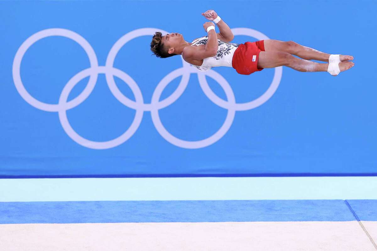 TOKYO, JAPAN - JULY 24: Yul Moldauer of Team United States competes in the floor exercise during Men's Qualification on day one of the Tokyo 2020 Olympic Games at Ariake Gymnastics Centre on July 24, 2021 in Tokyo, Japan.