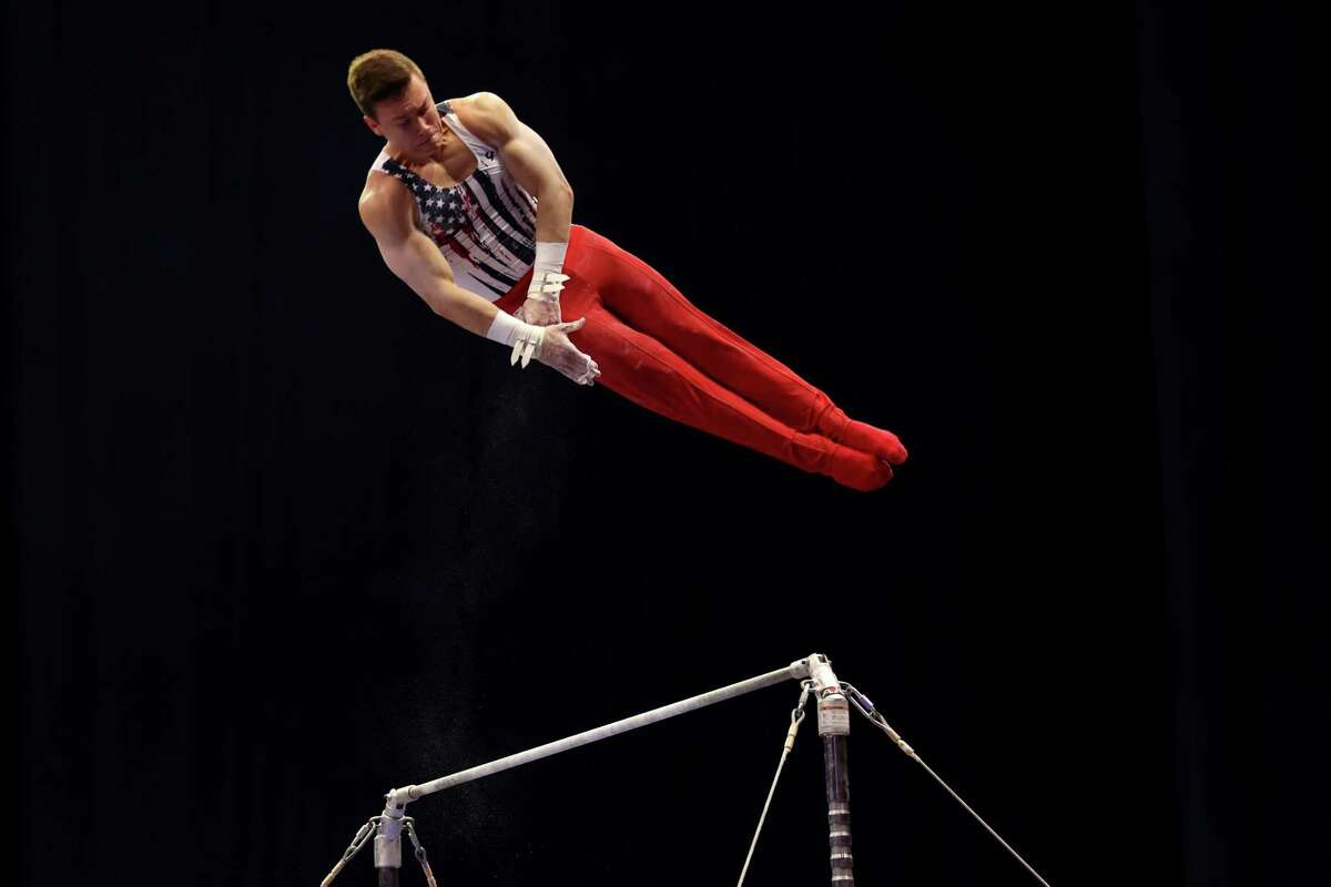 ST LOUIS, MISSOURI - JUNE 26: Brody Malone competes on high bar during the Men's competition of the 2021 U.S. Gymnastics Olympic Trials at America's Center on June 26, 2021 in St Louis, Missouri.