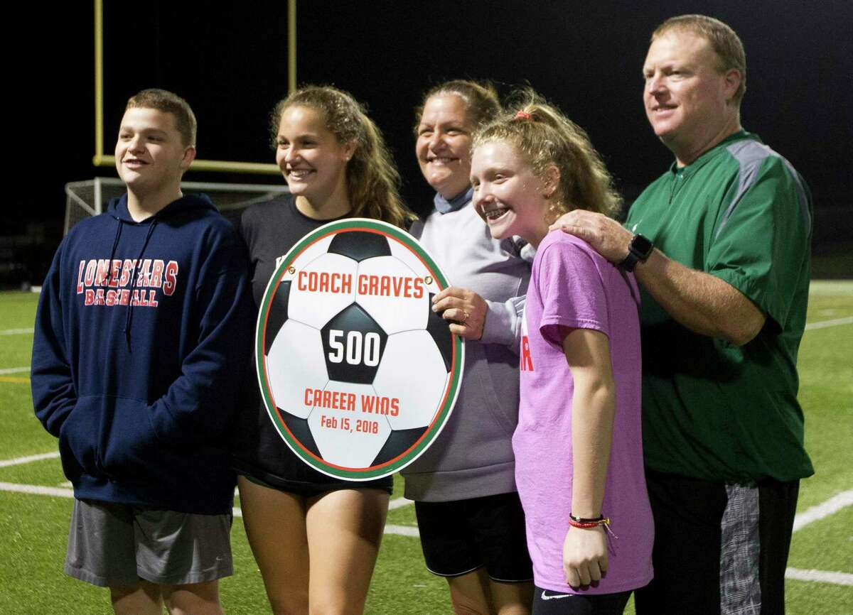 The Woodlands coach Dina Graves is shown with her husband Shane and children Peyton, Rylie and Bryce after achieving her 500th career win back in 2018.
