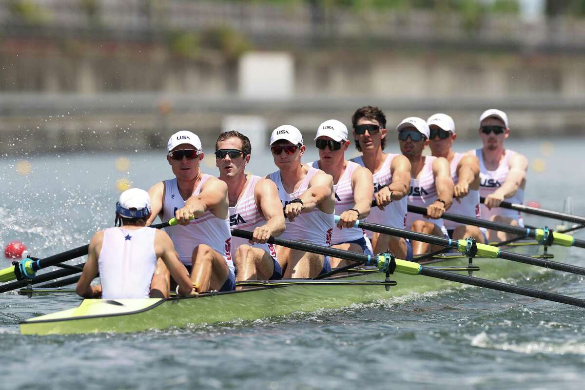 Julian Venonsky, Liam Corrigan, John Harrity, Nicholas Mead, Alexander Richards, Austin Hack, Daniel Miklasevich, Justin Best and Benjamin Davison of Team United States compete during the Men's Eight Heat at the Tokyo 2020 Olympic Games at Sea Forest Waterway last Friday in Tokyo.