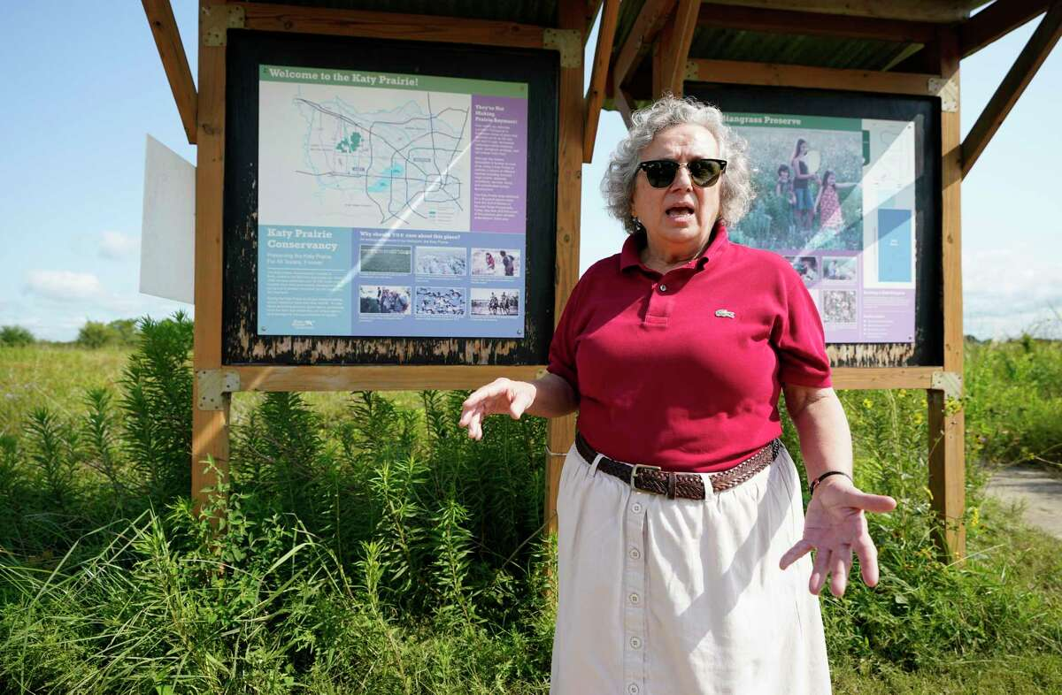 Mary Anne Piacentini, Katy Prairie Conservancy president, talks at the Indiangrass Preserve, 31975 Hebert Road, Tuesday, July 20, 2021 in Waller. The Katy Prairie Conservancy is pursuing a green cemetery. They haven't picked a location yet but say the Indiangrass Preserve is a good example of what it will look like.