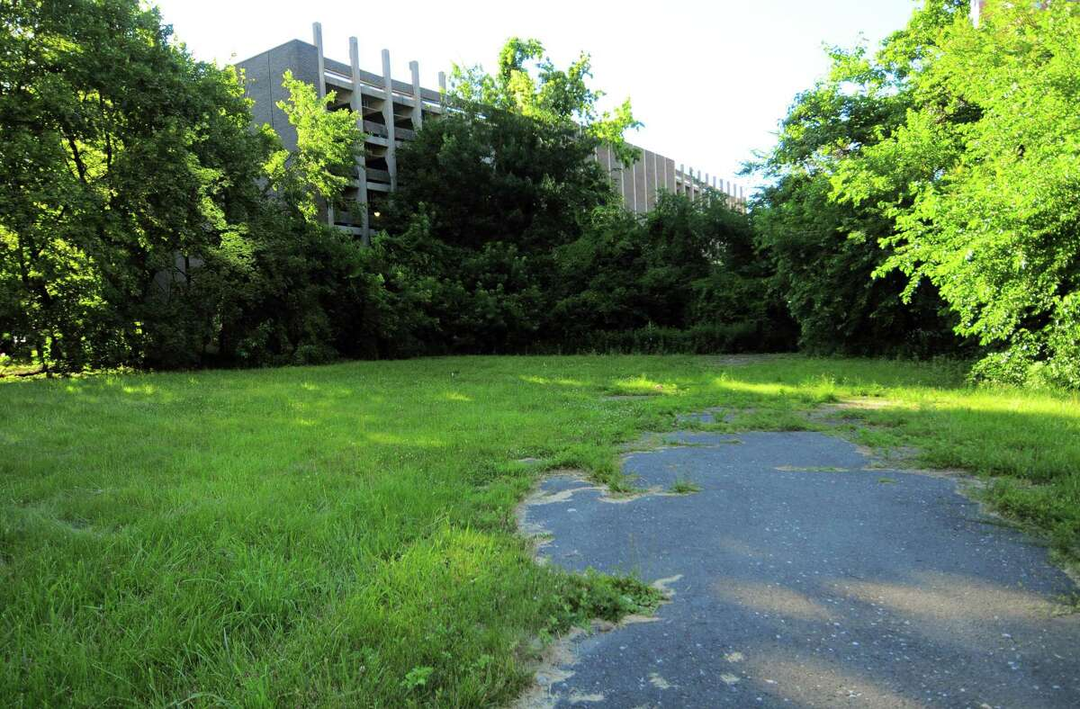 A view of the vacant property at Broad Street and Greyrock Place in Stamford, Conn., on Friday June 18, 2021.