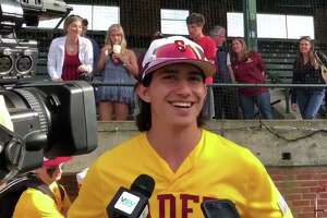 Stephen Paolini talks with reporters in 2019 after a St. Joseph victory over Rockville in the Class S semifinals. He was drafted in the fifth round by the Atlanta Braves on the same day.