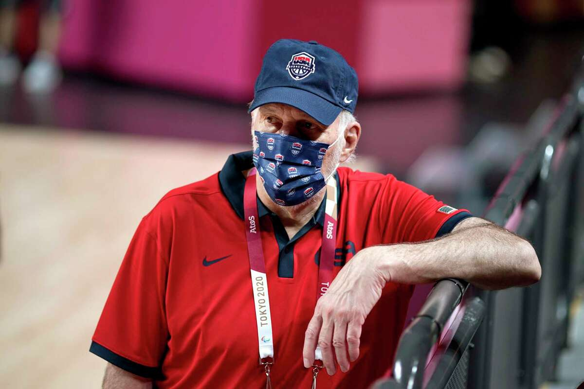 United States head coach Gregg Popovich looks on during a men's basketball practice at the Tokyo 2020 Olympics, in Saitama, Japan, Thursday, July 22, 2021. (AP Photo/David Goldman)