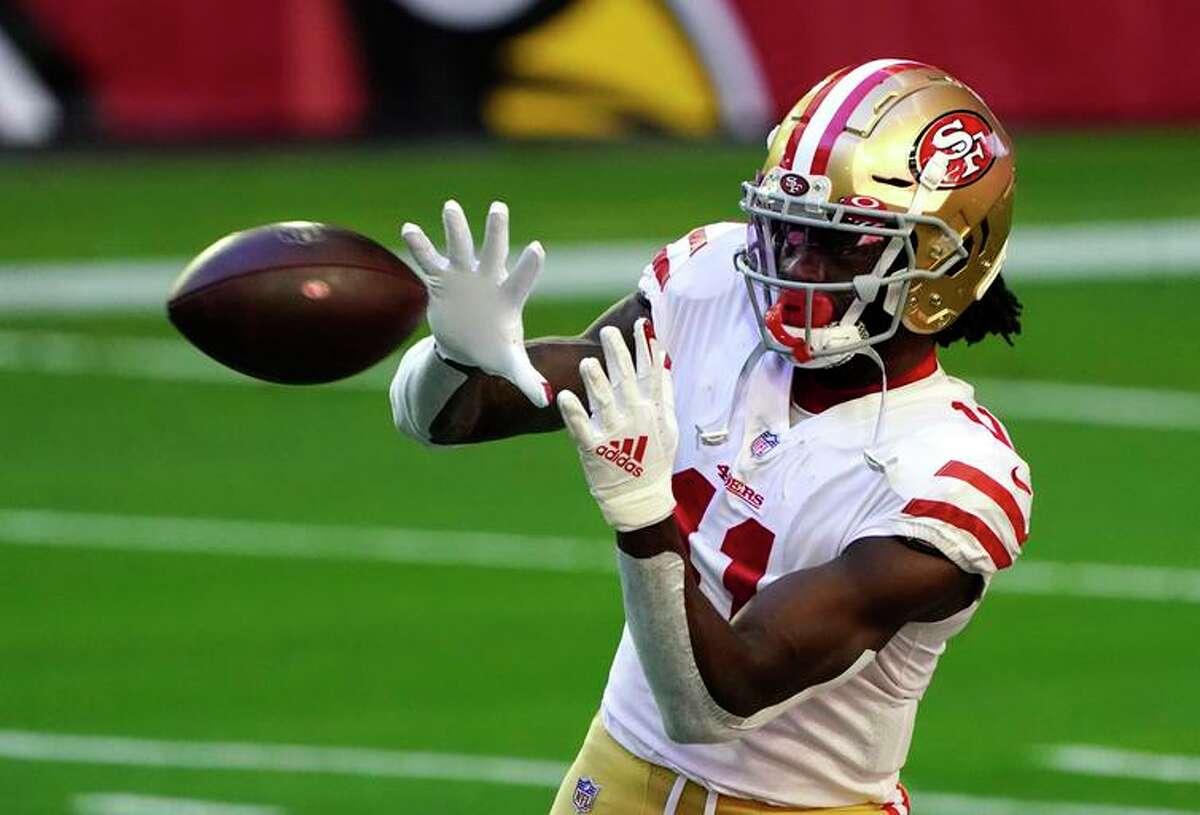 San Francisco 49ers wide receiver Brandon Aiyuk (11) during an NFL football game against the Arizona Cardinals, Saturday, Dec. 26, 2020, in Glendale, Ariz. (AP Photo/Rick Scuteri)