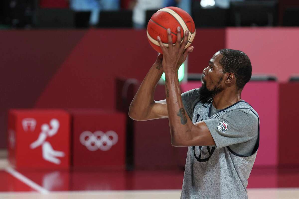 TOKYO, JAPAN - JULY 22: Kevin Durant #7 of Team USA practices at Saitama Super Arena ahead of the Tokyo 2020 Olympic Games on July 22, 2021 in Tokyo, Japan. (Photo by Gregory Shamus/Getty Images)