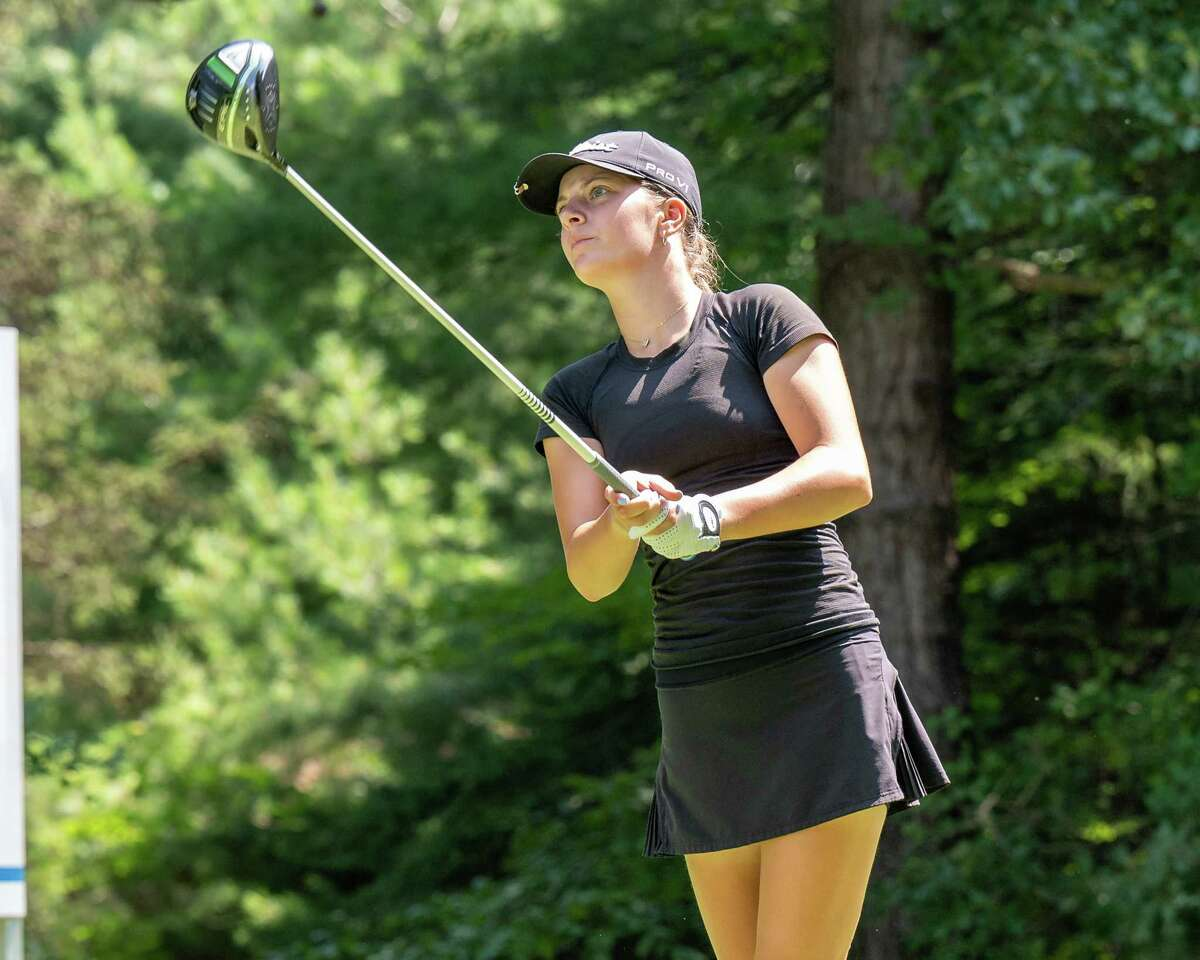 Kennedy Swedick hits a drive at Pinehaven Country Club at theSymetra Tour's Twin Bridges Championship on July 21, 2021. Swedick was even par overall in two matches in the week from Sept. 6-12 to earn Athlete of the Week honors.