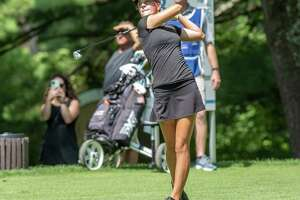 Kennedy Swedick, a 14-year-old from Altamont, hits a tee shot at Pinehaven Country Club in Guilderland, NY, during round two of the Symetra Tour Twin Bridges Championship on Saturday, July 21, 2021 (Jim Franco/Special to the Times Union)
