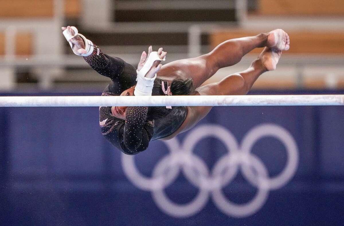Defending Olympic champion Simone Biles practices at Ariake Gymnastics Centre in Tokyo on Thursday.