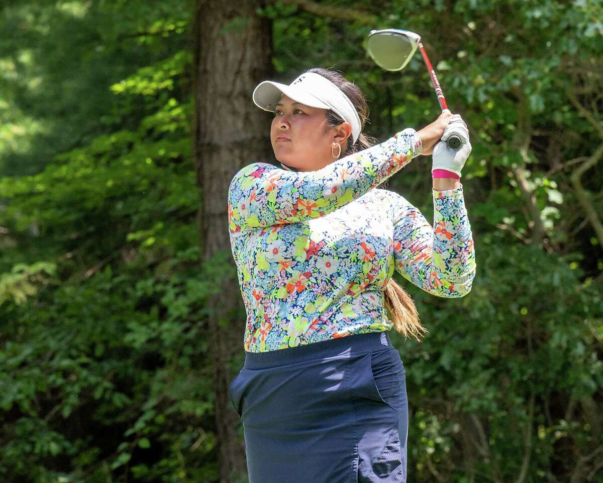 Lilia Vu, of Fountain Valley, California, hits a tee shot at Pinehaven Country Club in Guilderland, NY, during round two of the Symetra Tour Twin Bridges Championship on Saturday, July 21, 2021. Rohanna finished at five under par. (Jim Franco/Special to the Times Union)