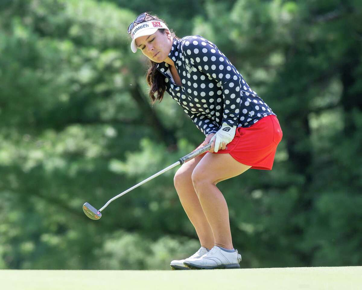 Rachel Rohanna, of Marianna, Pennsylvania, makes a birdie at Pinehaven Country Club in Guilderland, NY, during round two of the Symetra Tour Twin Bridges Championship on Saturday, July 21, 2021. Rohanna finished at five under par. (Jim Franco/Special to the Times Union)