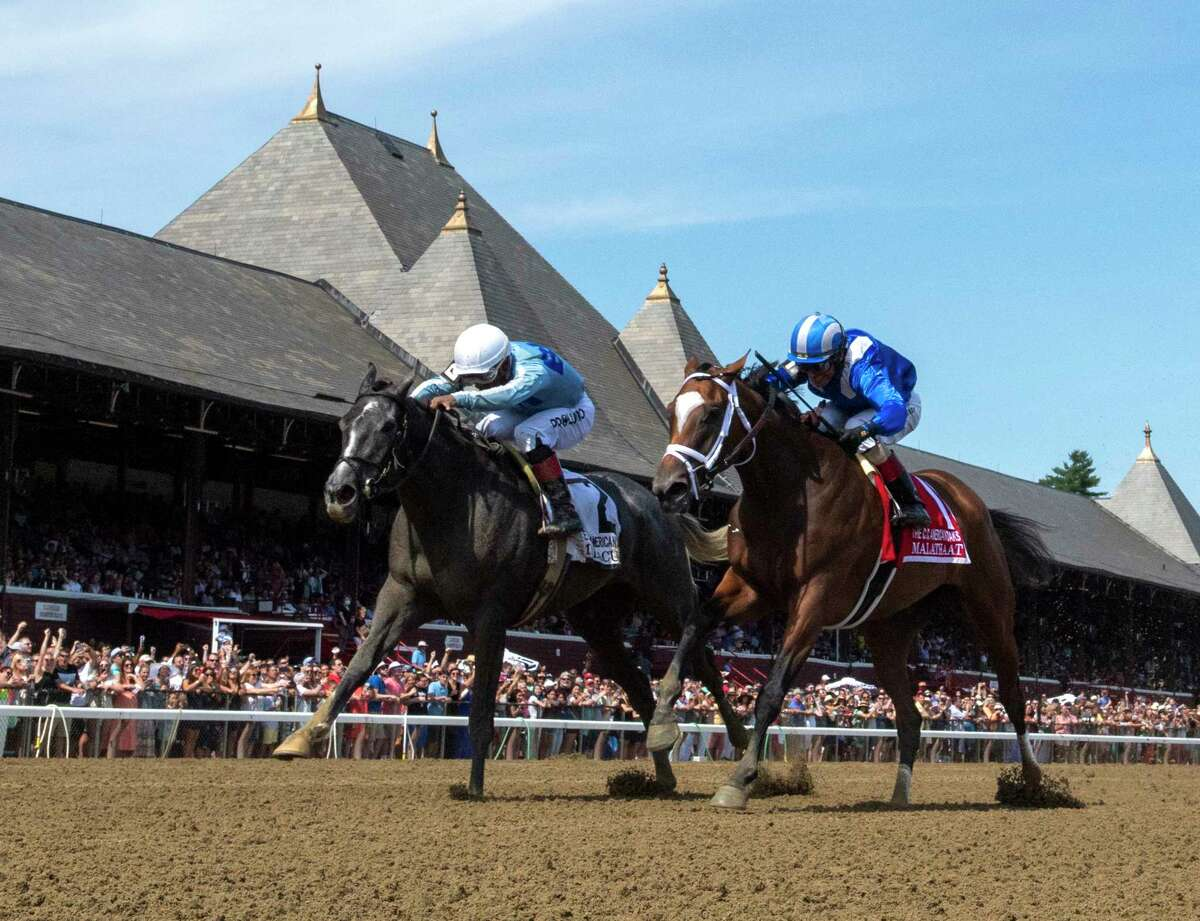 Malathaat, right, was handed her first loss by Maracuja in the Coaching Club American Oaks on July 24 at Saratoga. Malathaat will look to get back to her winning ways in the $600,000, Grade I Alabama on Saturday.