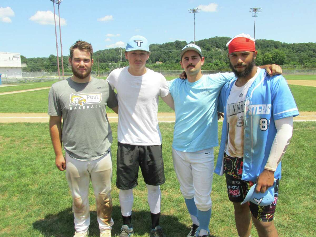 Key players in the Twisters' win over Blasius Chevrolet Saturday show off their older mustachioed look after clinching a Tri-State Baseball League playoff first round series. From left, Brian Carr, Jake Reynolds, Josh Rubino and Marcus Bloom.