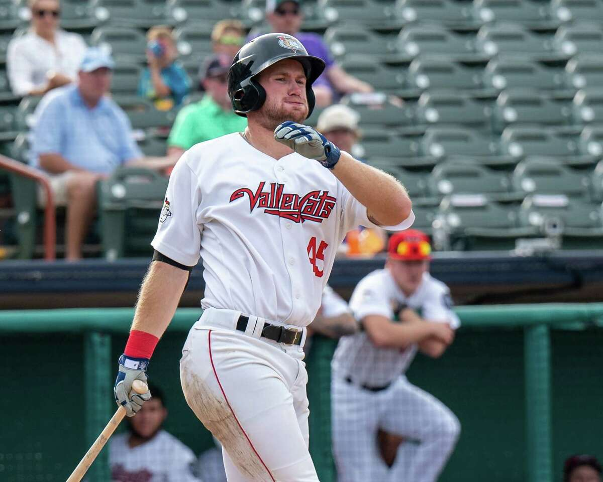 Tri-City ValleyCats left fielder Zach Biermann takes a cut against Equipe Quebec at the Joseph L. Bruno Stadium on the Hudson Valley Community College campus in Troy, NY, on Saturday, July 24, 2021 (Jim Franco/Special to the Times Union)