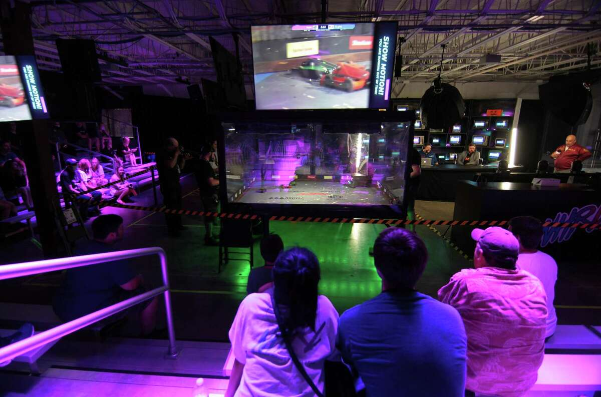 Norwalk Havoc Robot League holds a robot competition at its facility in Norwalk, Conn., on Saturday July 24, 2021. July 24th is the 4th event in the NHRL 2021 season and a total of 3 Golden Dumpsters and $4,200 dollars in cash prizes were available to the winners.