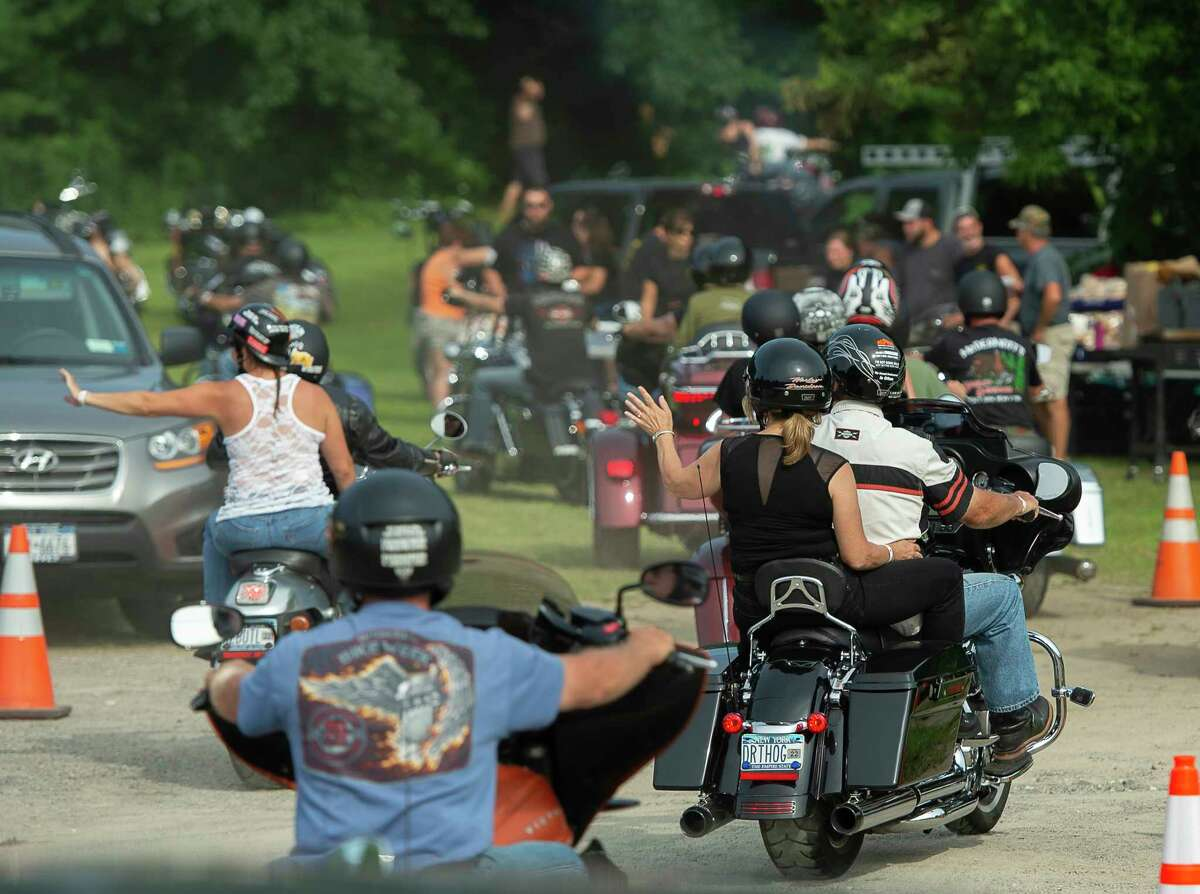 Motorcyclists enjoy a ride in Lake George. Authorities are urging drivers to be on the look out for motorcycles after a spike in motorcycle crashes and fatalities in recent years. (Jenn March, Special to the Times Union)