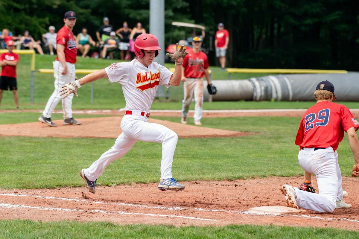 Berryhill Post 165's Danny Witbeck runs to first base during a game against Gladwin Post 171 Saturday, July 24, 2021 at Northwood University. (Adam Ferman/for the Daily News)