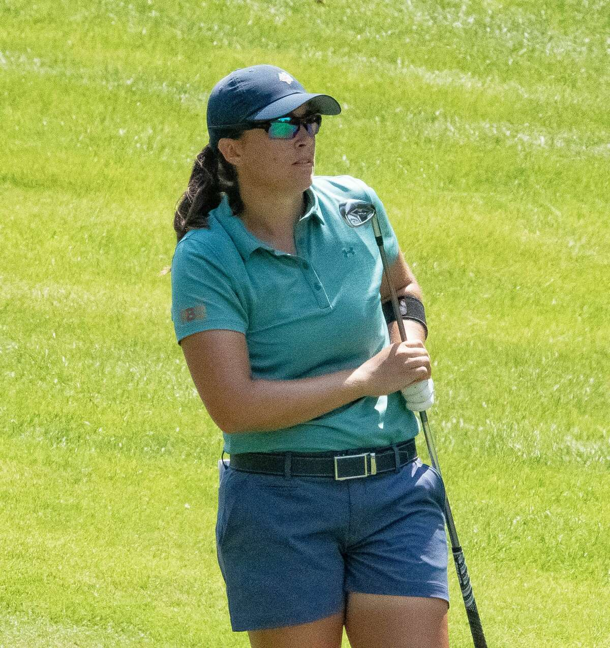 Dorsey Addicks is ranked 14th in driving distance on the Symetra Tour, averaging 281 yards. She hits an approach shot to the green on the 8th hole at Pinehaven on July 23, 2021, at the Twin Bridges Championship. (Photo by Joyce Bassett)
