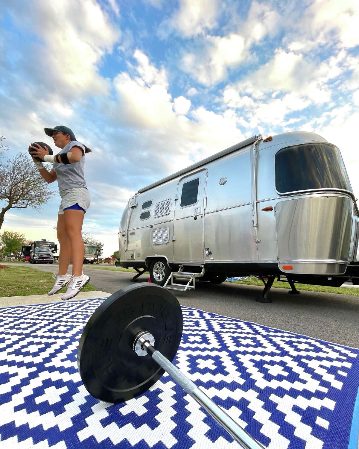 Dorsey Addicks is ranked 14th in driving distance on the Symetra Tour, averaging 281 yards. She lives full-time in an Airstream, 2017 model, and completes her workouts in campgrounds. (Photo by Rich Addicks)