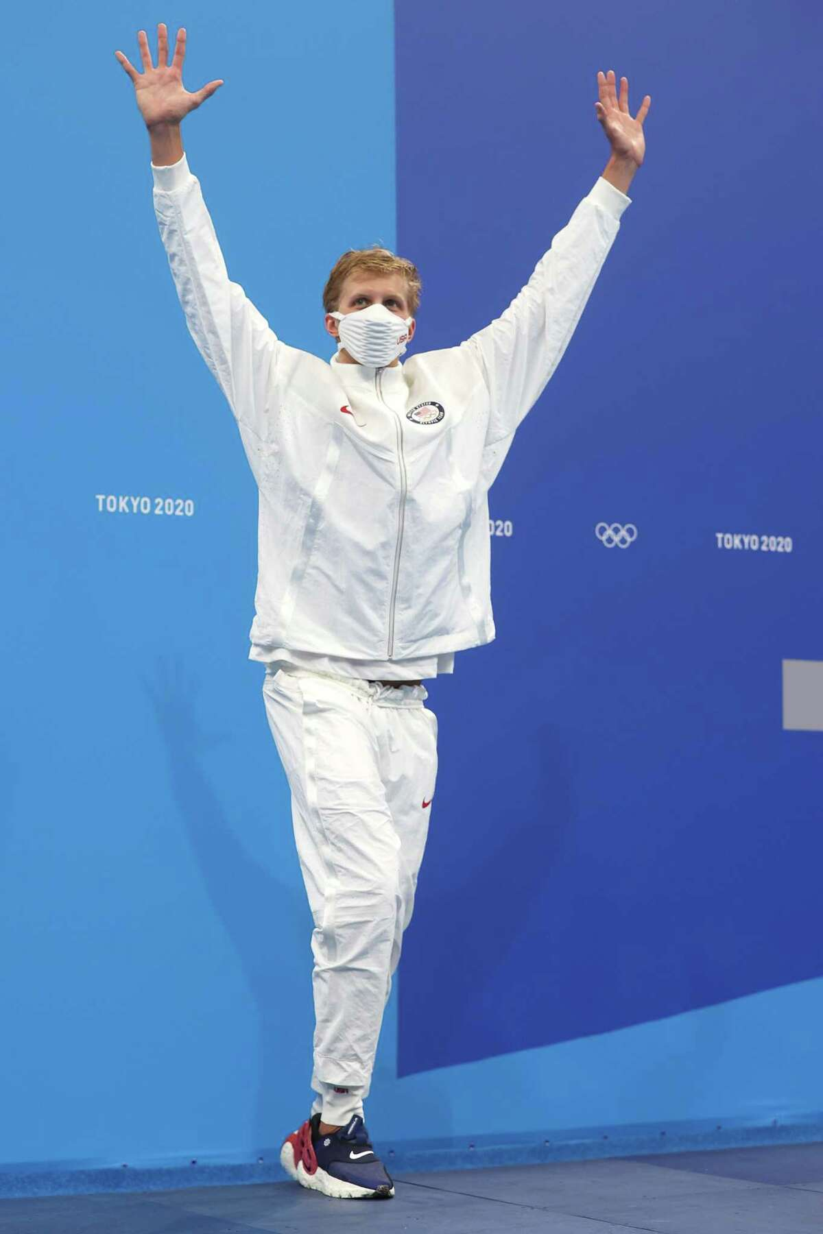 TOKYO, JAPAN - JULY 25: Kieran Smith of Team United States poses after winning the bronze medal in the Men's 400m Freestyle Final on day two of the Tokyo 2020 Olympic Games at Tokyo Aquatics Centre on July 25, 2021 in Tokyo, Japan. (Photo by Clive Rose/Getty Images)