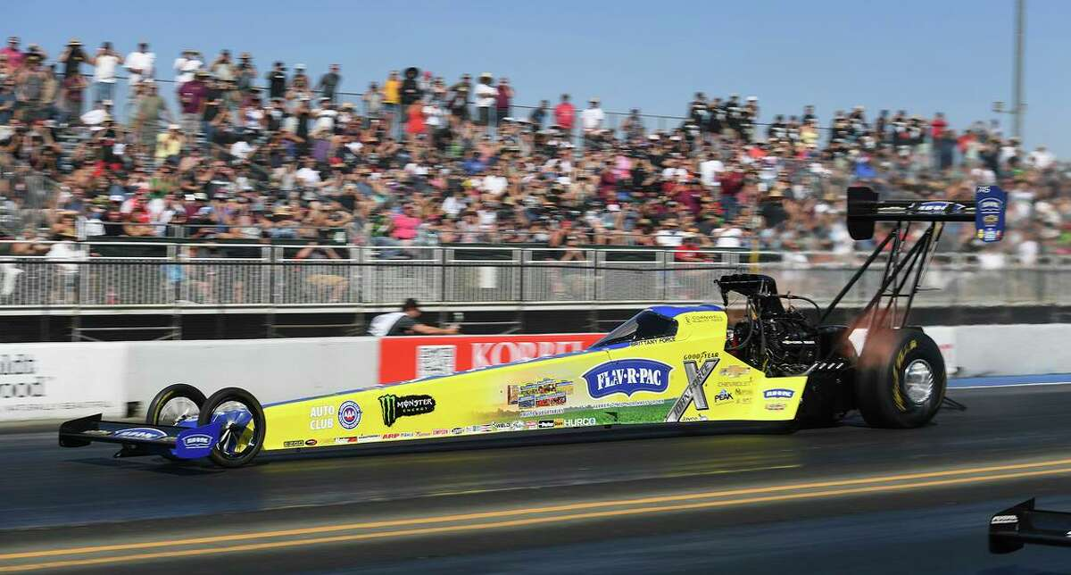 Brittany Force drives in Top Fuel qualifying Saturday, at Sonoma Raceway.
