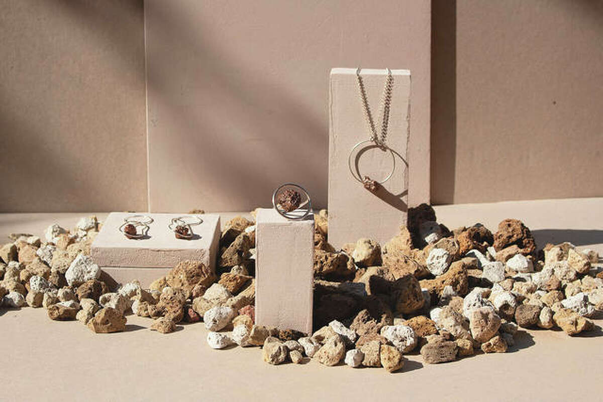 Modern jewelry was crafted from pumice found on lava fields around Iceland.