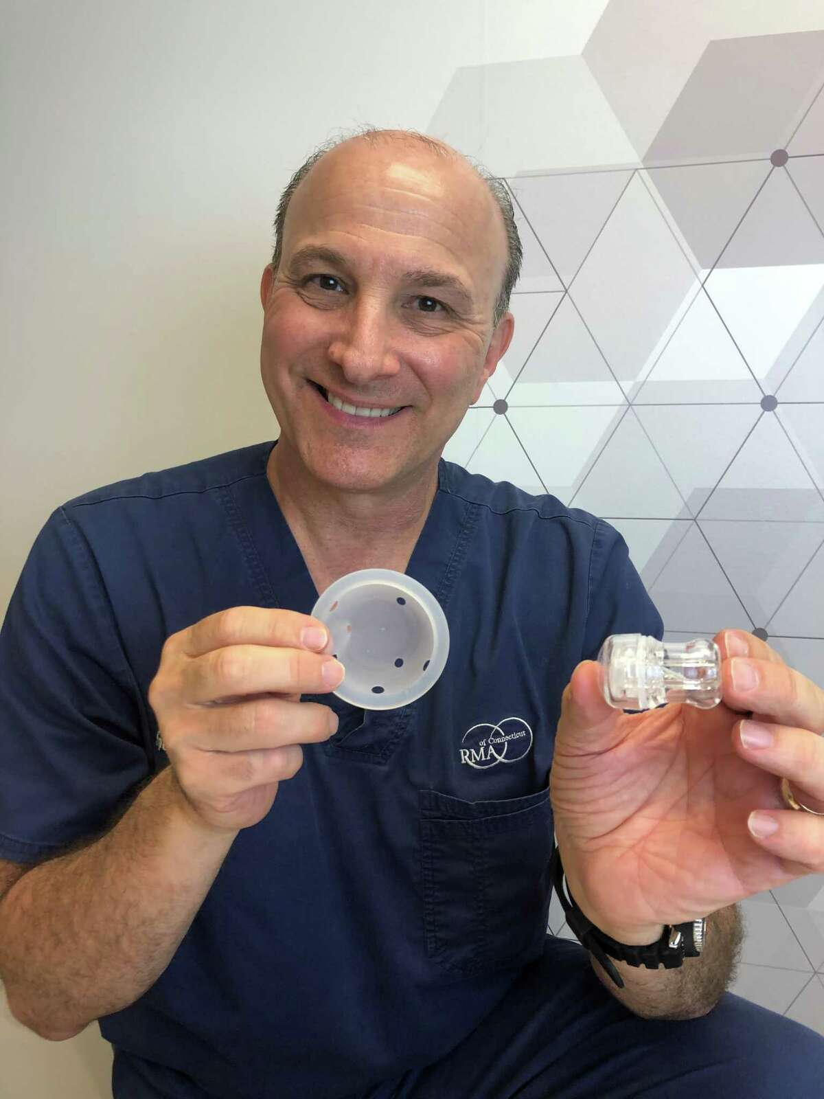 Doctor and Westport resident Spencer Richlin with INVOCELL, a new way of treating infertility offered at Reproductive Medicine Associates of Connecticut.