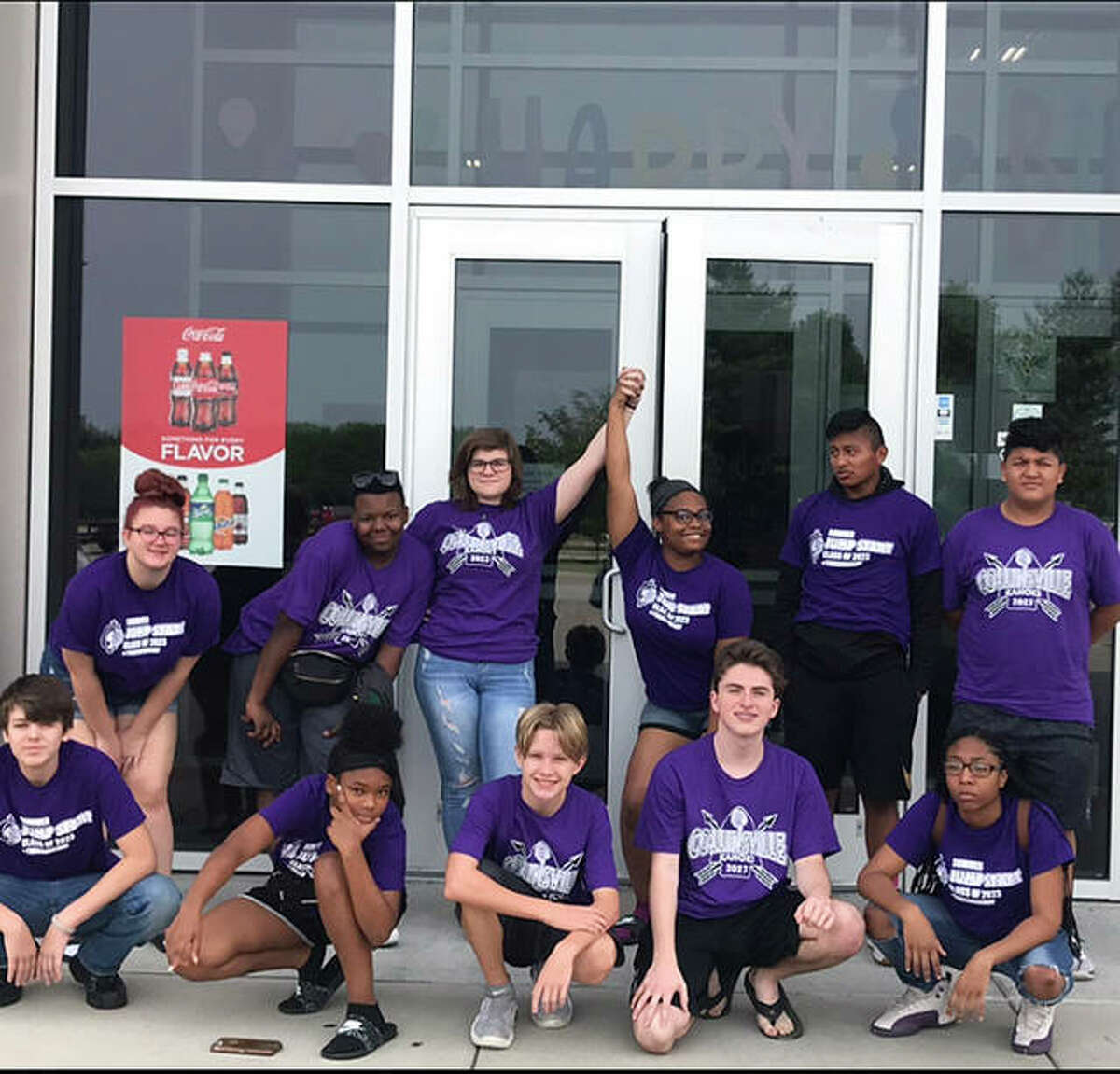 Students who took part in the 2019 Jump Start program pose outside the Altitude Trampoline Park in Glen Carbon.