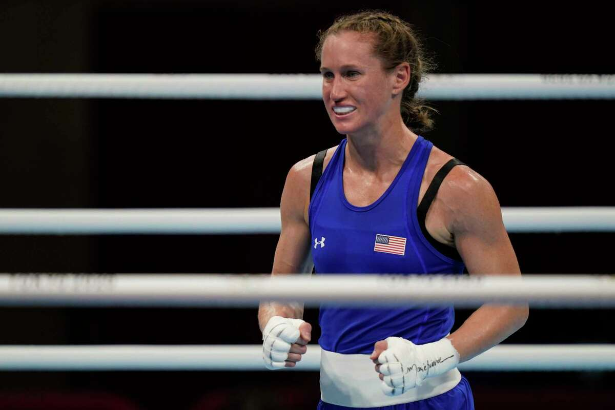 Virginia Fuchs celebrates her opening win in the Olympic boxing tournament.