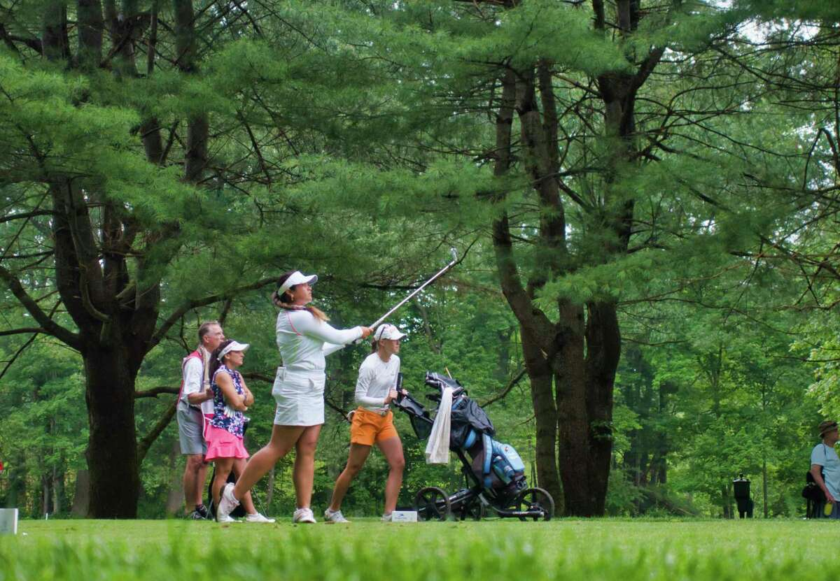 Lilia Vu from Fountain Valley, CA watches her tee shot on the third hole of the final round of the Twin Bridges Championship, a Symetra Tour event, at Pinehaven Country Club on Sunday, July 25, 2021, in Guilderland, N.Y. (Paul Buckowski/Times Union)