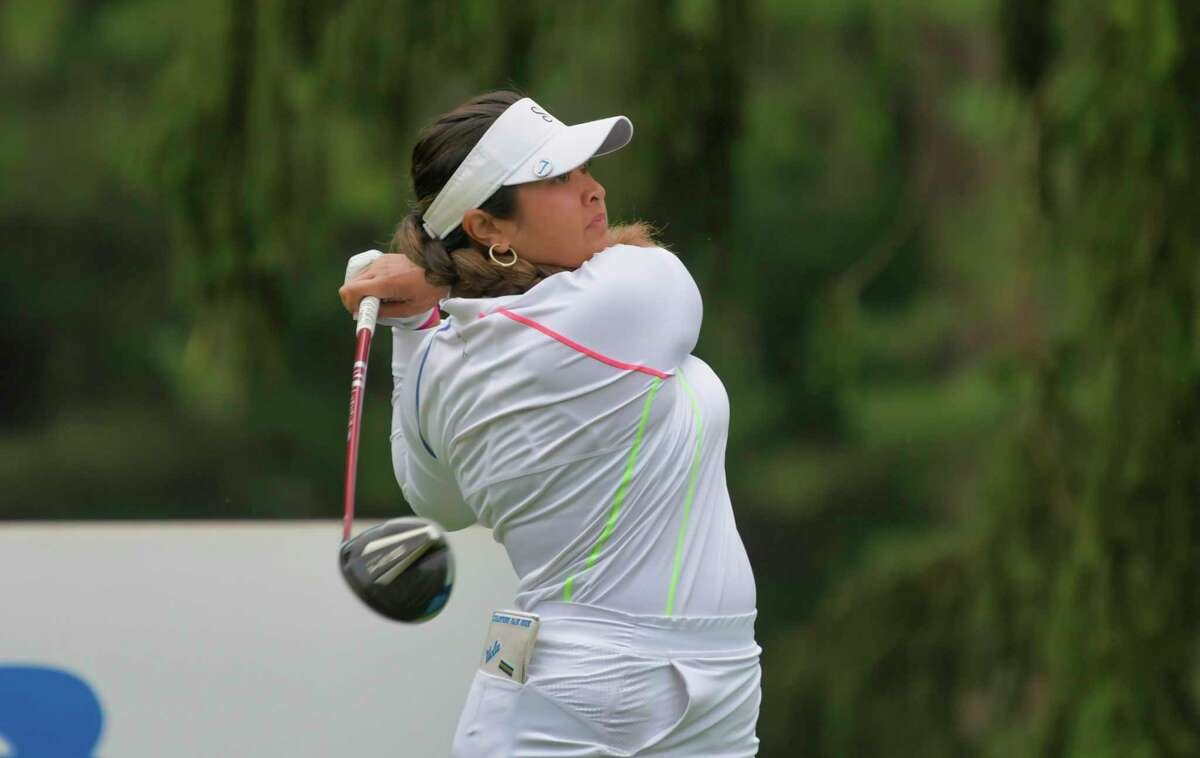Lilia Vu from Fountain Valley, CA tees off on the first hole of the final round of the Twin Bridges Championship, a Symetra Tour event, at Pinehaven Country Club on Sunday, July 25, 2021, in Guilderland, N.Y. (Paul Buckowski/Times Union)