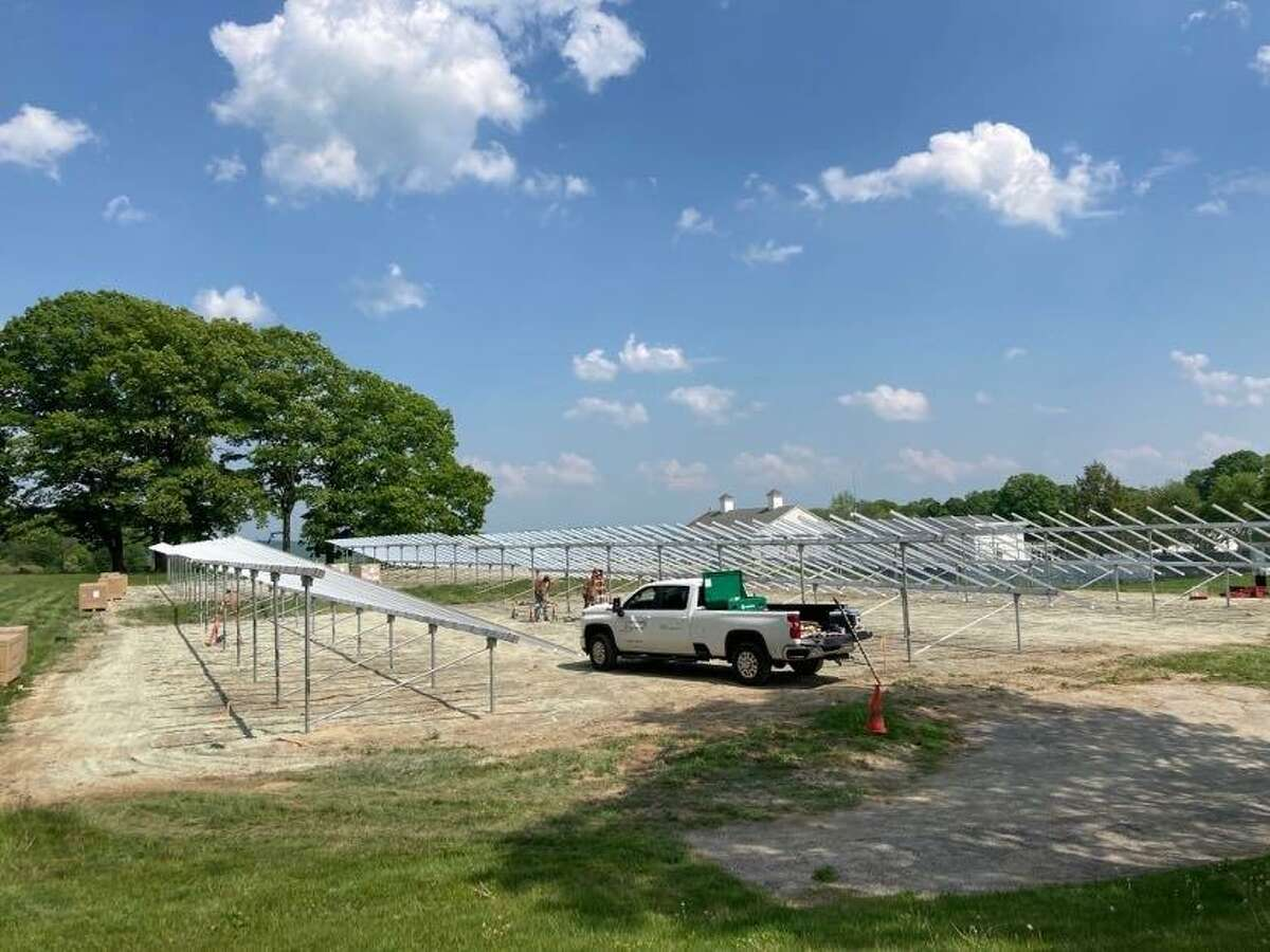 A view of the construction of two new solar fields on the Marvelwood campus.