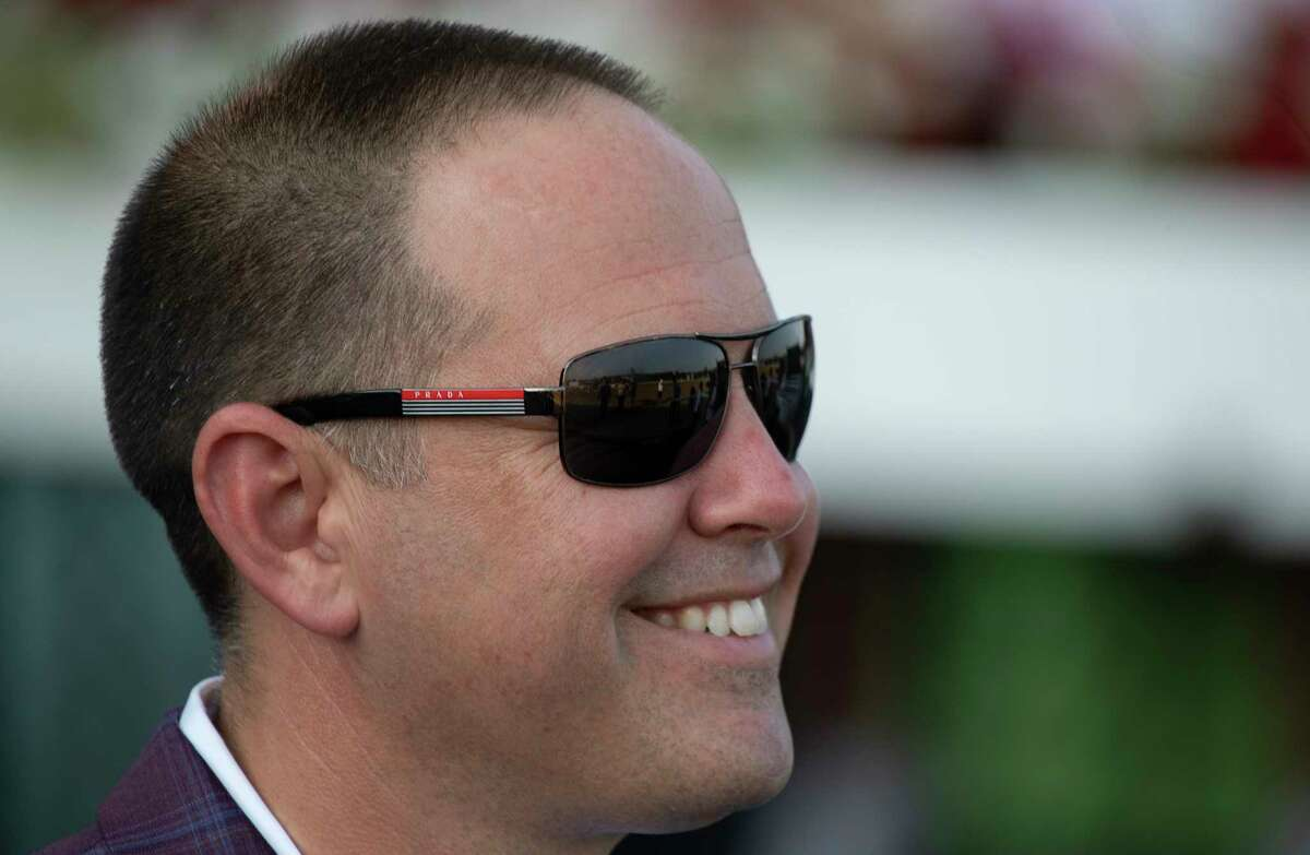 Trainer Chad Brown from Mechanicville is all smiles after his charge Royal Flag carried jockey Joel Rosario to the win the 45th running of The Shuvee at The Saratoga Race Course Sunday July 25, 2021 in Saratoga Springs, N.Y. Photo by Skip Dickstein