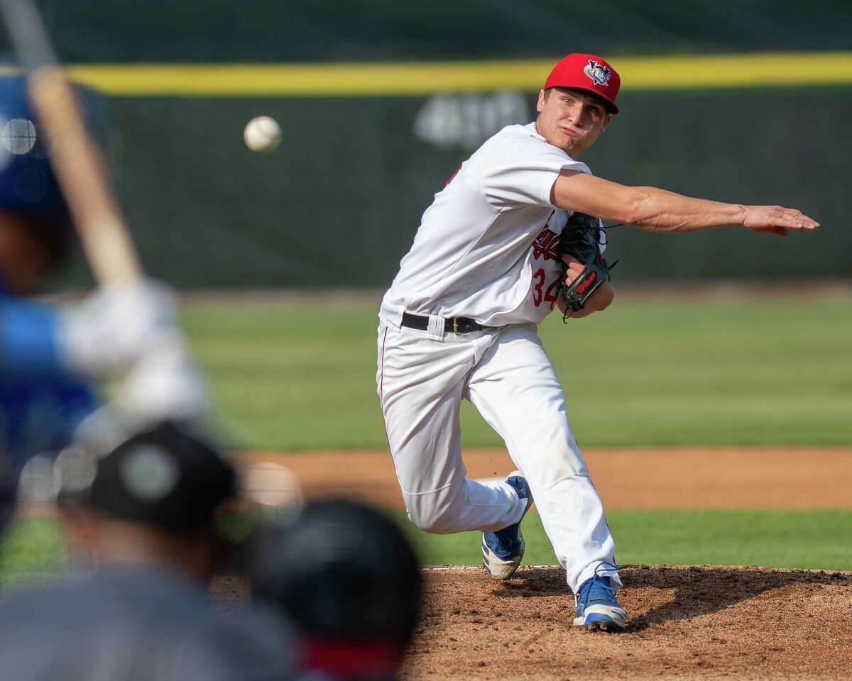 Tri-City ValleyCats starting pitcher Jake Dexter works against Equipe Quebec at the Joseph L. Bruno Stadium on the Hudson Valley Community College campus in Troy, NY, on Sunday, July 25, 2021 (Jim Franco/Special to the Times Union)