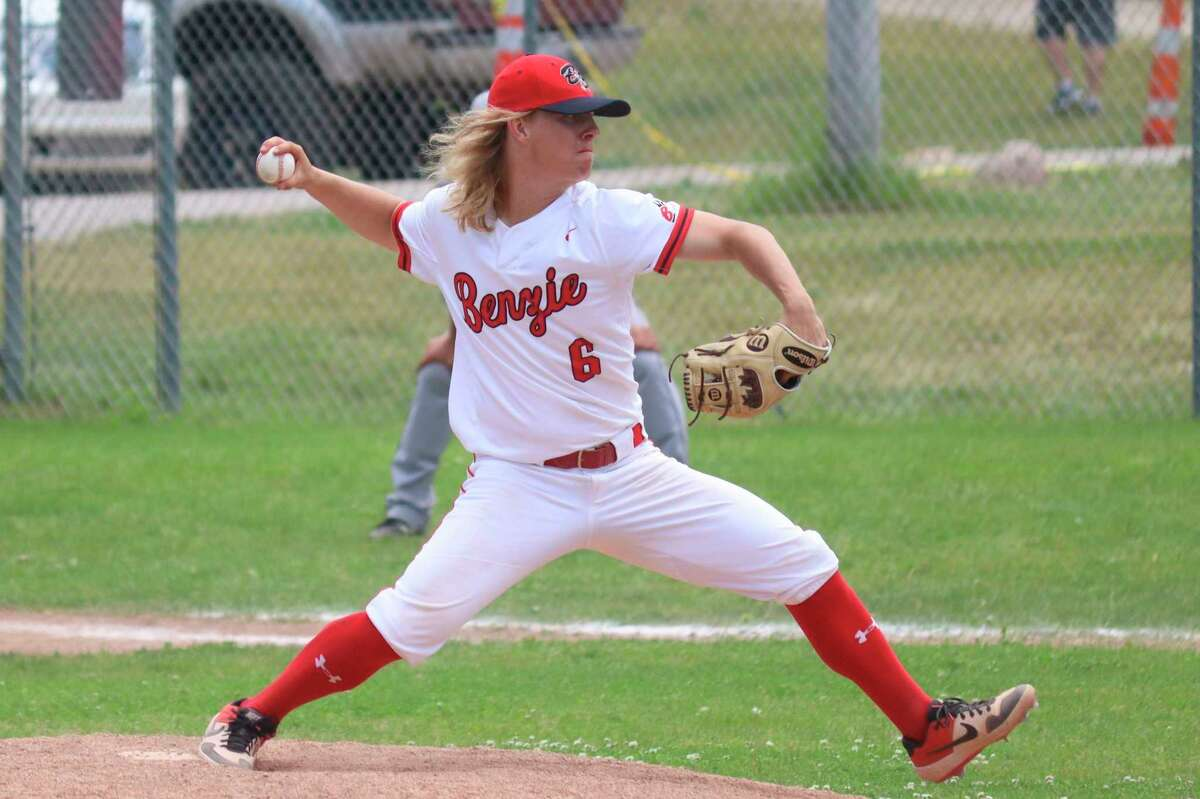 Dylan Bates pitches in districts in June, helping lead his team to a championship. (News Advocate file photo)