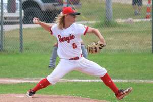 Dylan Bates pitches in districts in June, helping lead his team to a championship. (Record Patriot file photo)