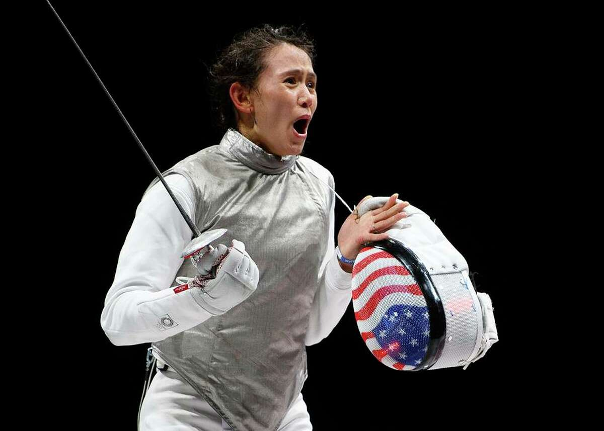American fencer Lee Kiefer celebrates after winning the women's foil individual Fencing semifinal 2 against Larisa Korobeynikova of Team ROC on day two of the Tokyo 2020 Olympic Games at Makuhari Messe Hall on July 25, 2021 in Chiba, Japan. (Photo by Matthias Hangst/Getty Images)