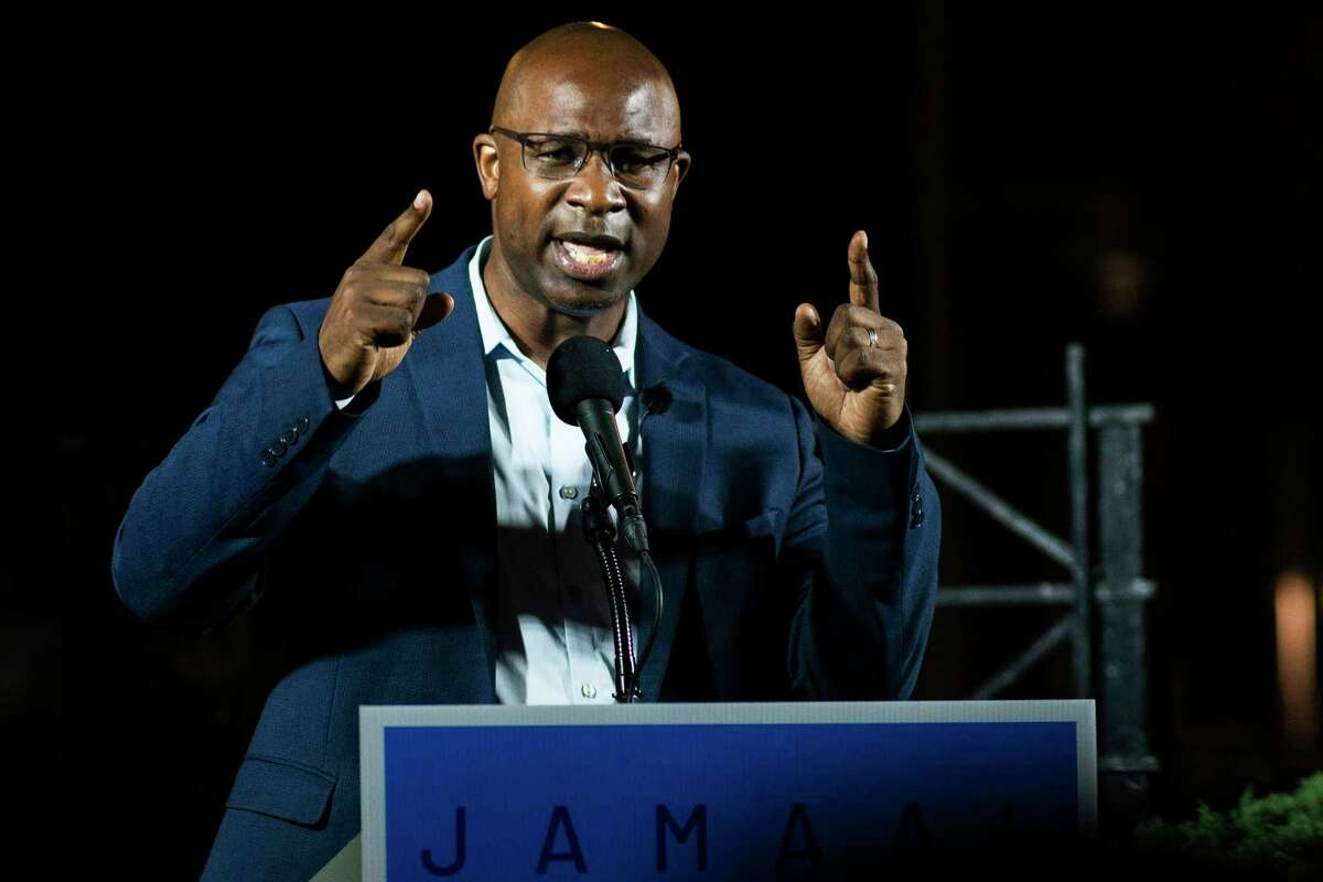 This June 23, 2020 photo shows Jamaal Bowman speaking to attendees during his primary-night party.