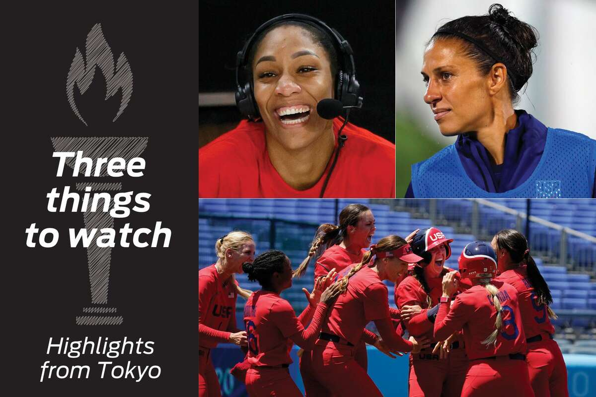 Clockwise from top left: A'ja Wilson, Carli Lloyd and the U.S. softball team highlight today's events.