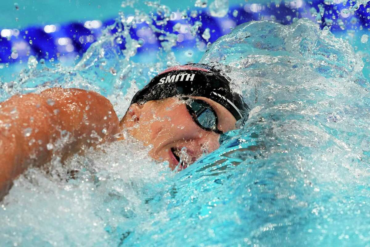 Kieran Smith, of the United States, swims in a semi-final during the men's 200-meter freestyle at the 2020 Summer Olympics, Monday, July 26, 2021, in Tokyo, Japan. (AP Photo/Petr David Josek)