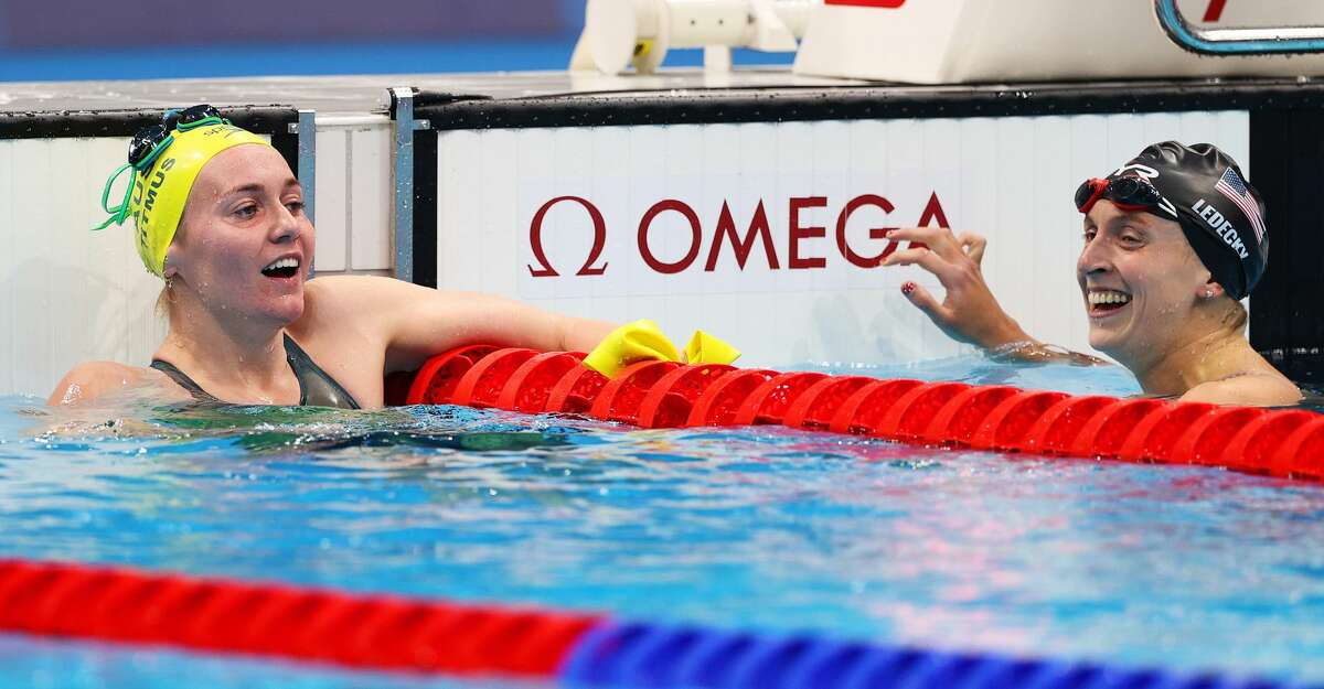 Ariarne Titmus of Team Australia and Katie Ledecky of Team United States react after competing in the Women's 400m Freestyle Final on day three of the Tokyo 2020 Olympic Games at Tokyo Aquatics Centre on July 26, 2021 in Tokyo, Japan. (Photo by Maddie Meyer/Getty Images)