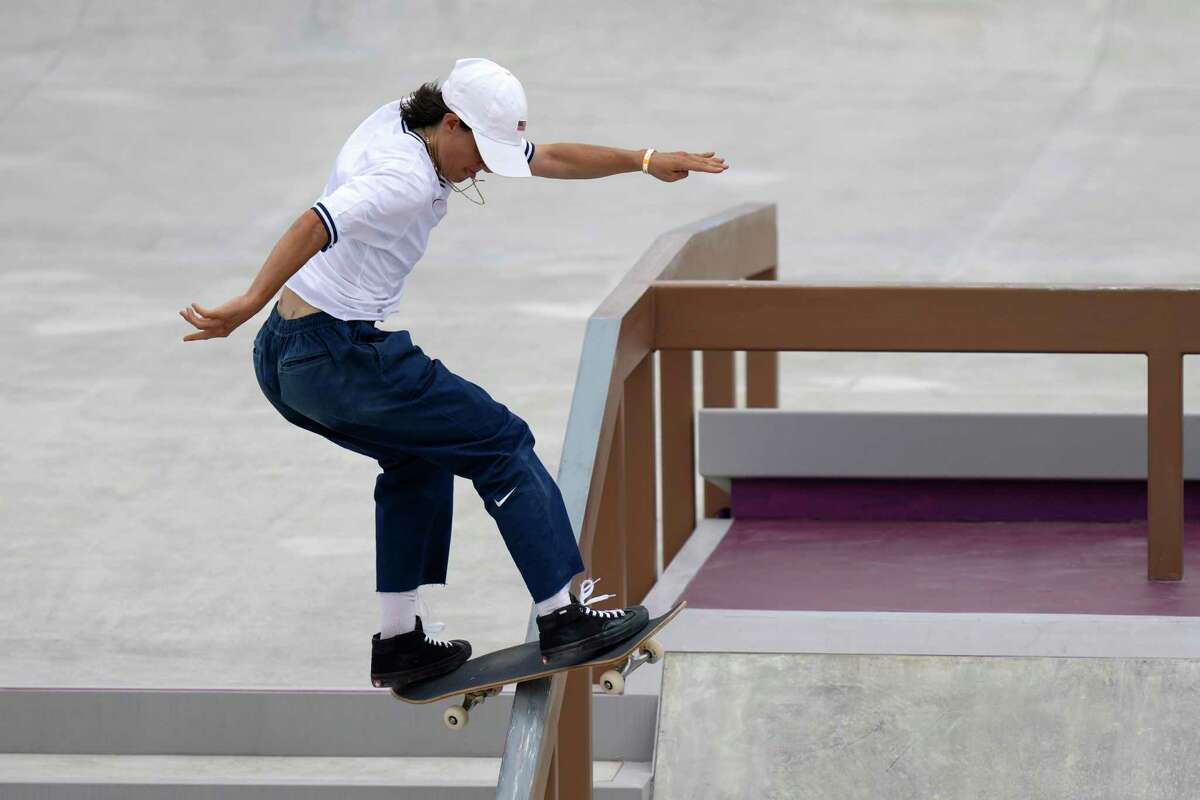 Alexis Sablone of the United States competes in the women's street skateboarding finals at the 2020 Summer Olympics, Monday, July 26, 2021, in Tokyo, Japan. (AP Photo/Ben Curtis)